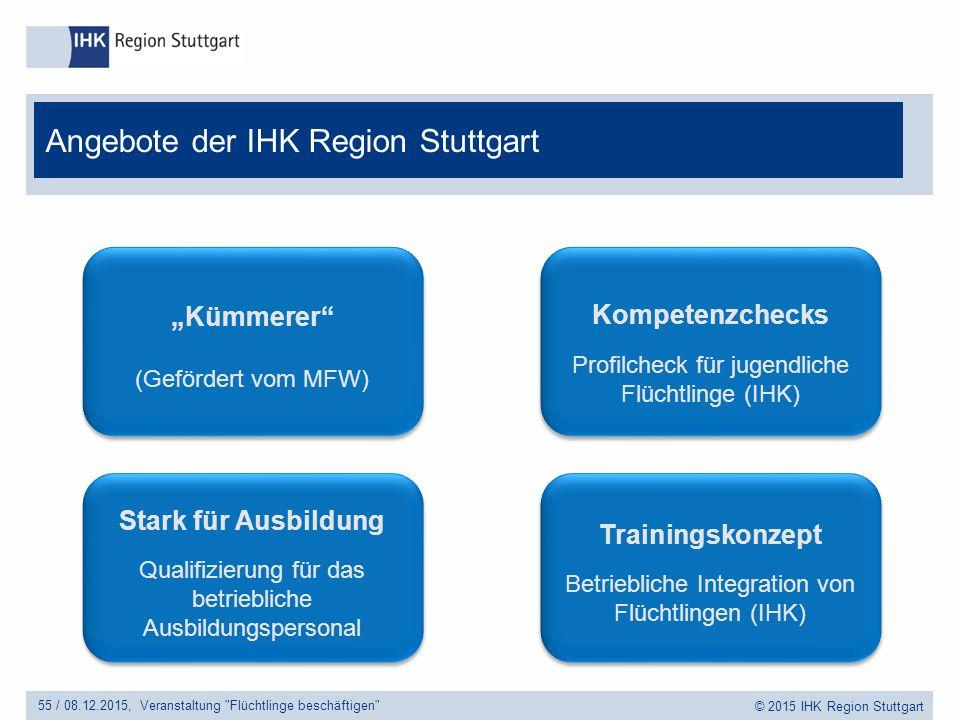 """© 2015 IHK Region Stuttgart Angebote der IHK Region Stuttgart 55 /Veranstaltung Flüchtlinge beschäftigen 08.12.2015, Trainingskonzept Betriebliche Integration von Flüchtlingen (IHK) Trainingskonzept Betriebliche Integration von Flüchtlingen (IHK) Kompetenzchecks Profilcheck für jugendliche Flüchtlinge (IHK) Kompetenzchecks Profilcheck für jugendliche Flüchtlinge (IHK) """"Kümmerer (Gefördert vom MFW) Stark für Ausbildung Qualifizierung für das betriebliche Ausbildungspersonal Stark für Ausbildung Qualifizierung für das betriebliche Ausbildungspersonal"""