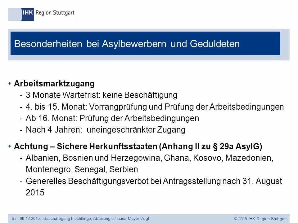© 2015 IHK Region Stuttgart Arbeitsmarktzugang -3 Monate Wartefrist: keine Beschäftigung -4.