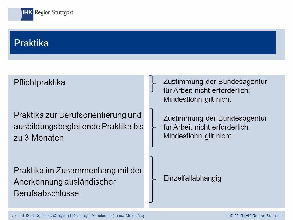 © 2015 IHK Region Stuttgart Pflichtpraktika Praktika zur Berufsorientierung und ausbildungsbegleitende Praktika bis zu 3 Monaten Praktika im Zusammenhang mit der Anerkennung ausländischer Berufsabschlüsse 7 /Beschäftigung Flüchtlinge, Abteilung 5 / Liana Meyer-Vogt08.12.2015, Praktika Zustimmung der Bundesagentur für Arbeit nicht erforderlich; Mindestlohn gilt nicht Einzelfallabhängig Zustimmung der Bundesagentur für Arbeit nicht erforderlich; Mindestlohn gilt nicht