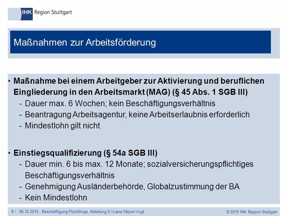 © 2015 IHK Region Stuttgart Maßnahme bei einem Arbeitgeber zur Aktivierung und beruflichen Eingliederung in den Arbeitsmarkt (MAG) (§ 45 Abs.