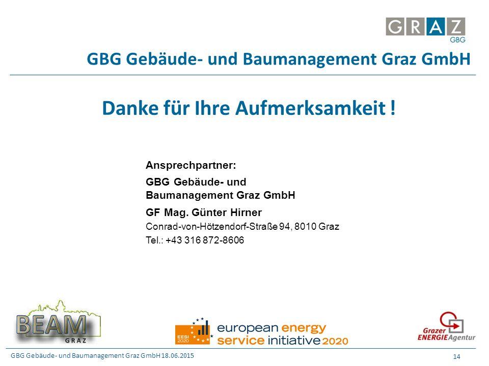 GBG Gebäude- und Baumanagement Graz GmbH 18.06.2015 14 GBG Gebäude- und Baumanagement Graz GmbH Danke für Ihre Aufmerksamkeit ! Ansprechpartner: GBG G