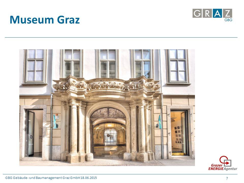 GBG Gebäude- und Baumanagement Graz GmbH 18.06.2015 8 Museum Graz  Umsetzung: – Erneuerung der Museumsbeleuchtung und der Bürobeleuchtung – Tausch von ca.