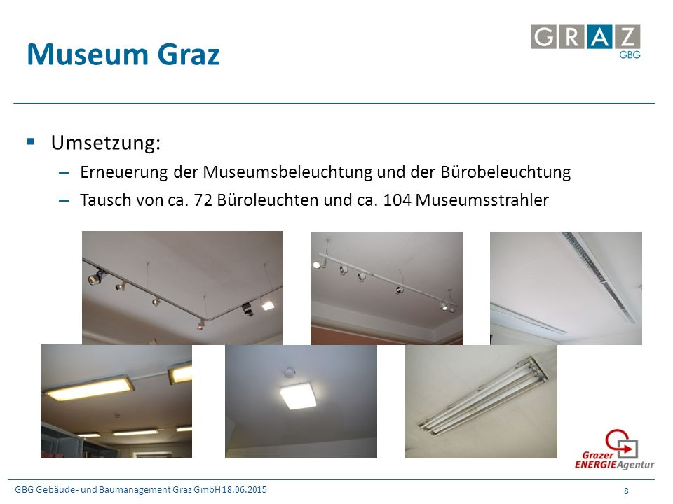 GBG Gebäude- und Baumanagement Graz GmbH 18.06.2015 8 Museum Graz  Umsetzung: – Erneuerung der Museumsbeleuchtung und der Bürobeleuchtung – Tausch vo