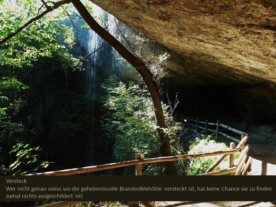 Versteck Wer nicht genau weiss wo die geheimnisvolle Brandenfelshöhle versteckt ist, hat keine Chance sie zu finden zumal nichts ausgeschildert ist!