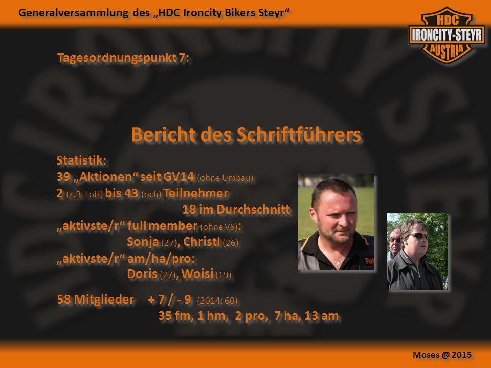 """Generalversammlung des """"HDC Ironcity Bikers Steyr Moses @ 2015 Tagesordnungspunkt 7: Bericht des Schriftführers Statistik: 39 """"Aktionen seit GV14 (ohne Umbau) 2 (z.B."""