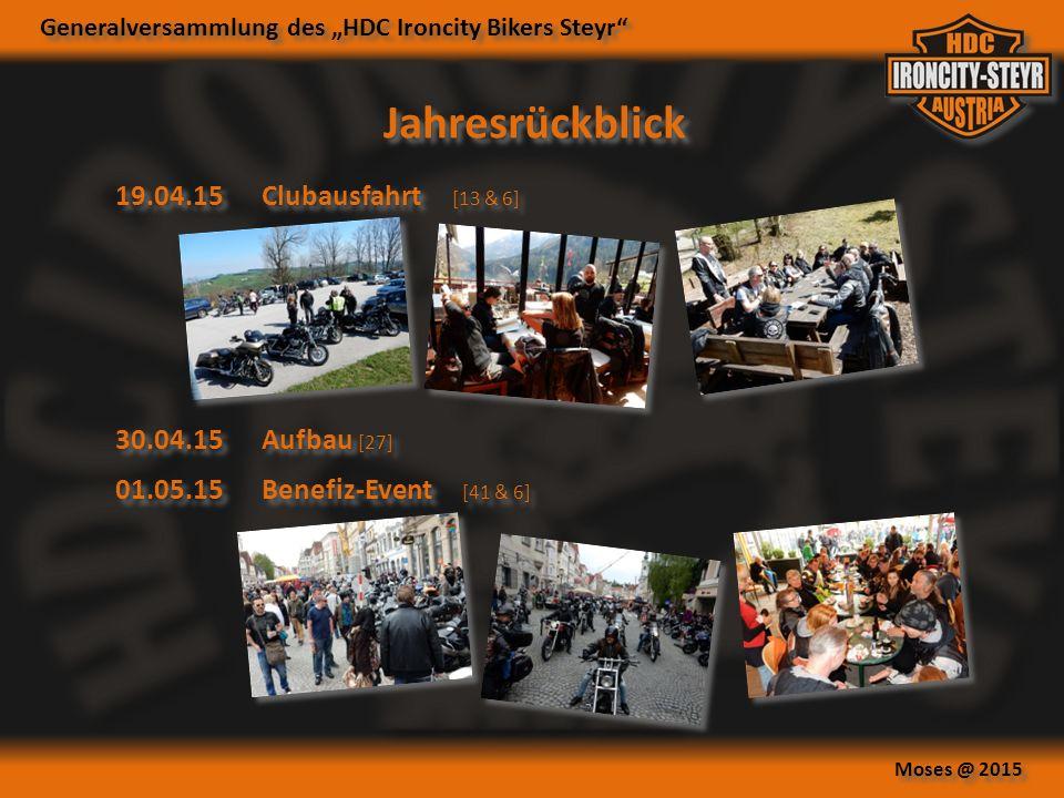 "Generalversammlung des ""HDC Ironcity Bikers Steyr Moses @ 2015 Jahresrückblick 19.04.15Clubausfahrt [13 & 6] 01.05.15Benefiz-Event [41 & 6] 30.04.15Aufbau [27]"
