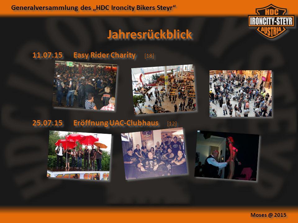 """Generalversammlung des """"HDC Ironcity Bikers Steyr Moses @ 2015 Jahresrückblick 11.07.15Easy Rider Charity [18] 25.07.15Eröffnung UAC-Clubhaus [12]"""