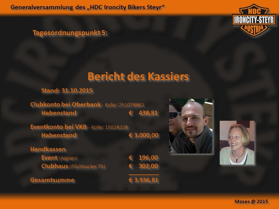 """Generalversammlung des """"HDC Ironcity Bikers Steyr Moses @ 2015 Tagesordnungspunkt 5: Bericht des Kassiers Stand: 31.10.2015 Clubkonto bei Oberbank - KoNr: 251078861 Habenstand € 438,81 Eventkonto bei VKB - KoNr: 15028228 Habenstand € 3.000,00 Handkassen Event (Aigner) € 196,00 Clubhaus (Pöchhacker Th) € 302,00 _____________ Gesamtsumme € 3.936,81 Stand: 31.10.2015 Clubkonto bei Oberbank - KoNr: 251078861 Habenstand € 438,81 Eventkonto bei VKB - KoNr: 15028228 Habenstand € 3.000,00 Handkassen Event (Aigner) € 196,00 Clubhaus (Pöchhacker Th) € 302,00 _____________ Gesamtsumme € 3.936,81"""