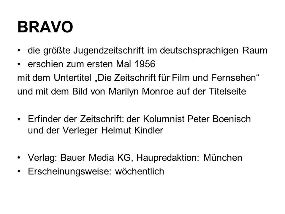 """BRAVO die größte Jugendzeitschrift im deutschsprachigen Raum erschien zum ersten Mal 1956 mit dem Untertitel """"Die Zeitschrift für Film und Fernsehen"""""""