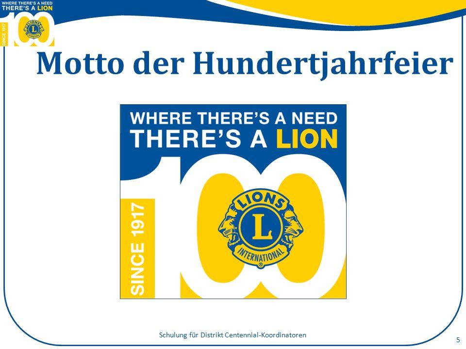 5 Motto der Hundertjahrfeier Schulung für Distrikt Centennial-Koordinatoren
