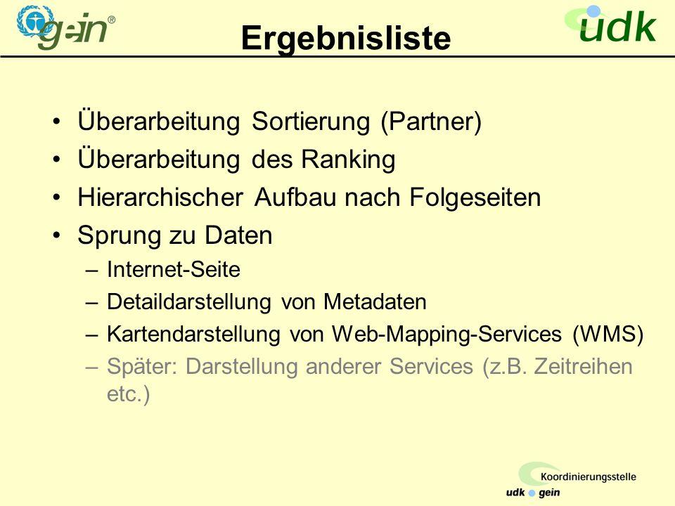 Ergebnisliste Überarbeitung Sortierung (Partner) Überarbeitung des Ranking Hierarchischer Aufbau nach Folgeseiten Sprung zu Daten –Internet-Seite –Detaildarstellung von Metadaten –Kartendarstellung von Web-Mapping-Services (WMS) –Später: Darstellung anderer Services (z.B.