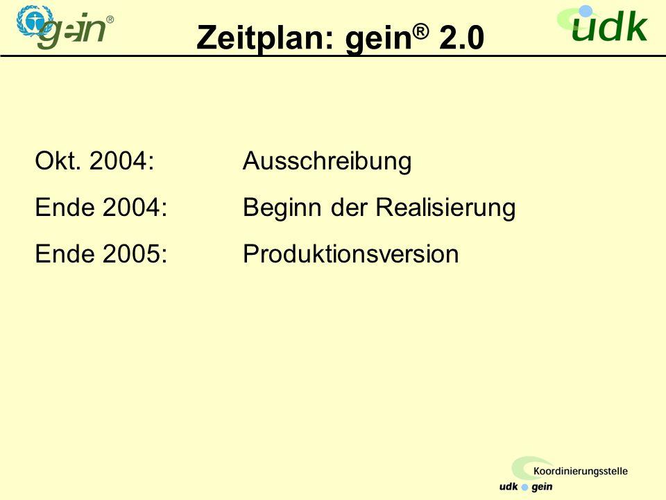 Zeitplan: gein ® 2.0 Okt.