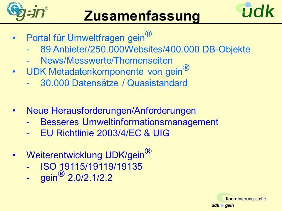 Zusamenfassung Portal für Umweltfragen gein ® -89 Anbieter/250.000Websites/400.000 DB-Objekte -News/Messwerte/Themenseiten UDK Metadatenkomponente von gein ® -30.000 Datensätze / Quasistandard Weiterentwicklung UDK/gein ® -ISO 19115/19119/19135 -gein ® 2.0/2.1/2.2 Neue Herausforderungen/Anforderungen -Besseres Umweltinformationsmanagement -EU Richtlinie 2003/4/EC & UIG