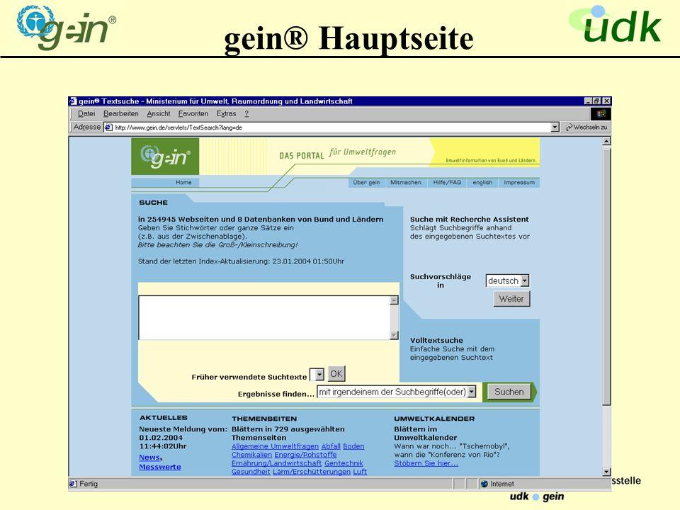 gein® Hauptseite