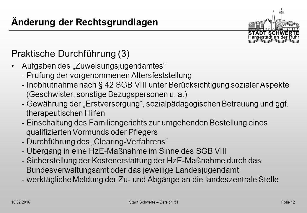 """Änderung der Rechtsgrundlagen Praktische Durchführung (3) Aufgaben des """"Zuweisungsjugendamtes"""" - Prüfung der vorgenommenen Altersfeststellung - Inobhu"""