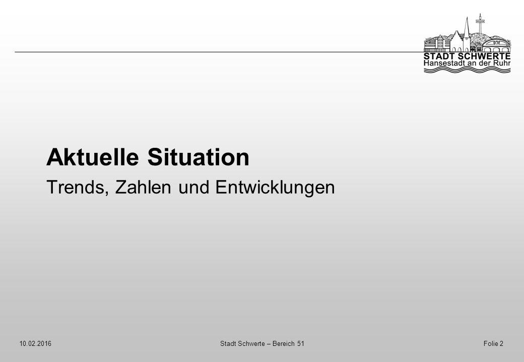 Aktuelle Situation Trends, Zahlen und Entwicklungen 10.02.2016Stadt Schwerte – Bereich 51Folie 2