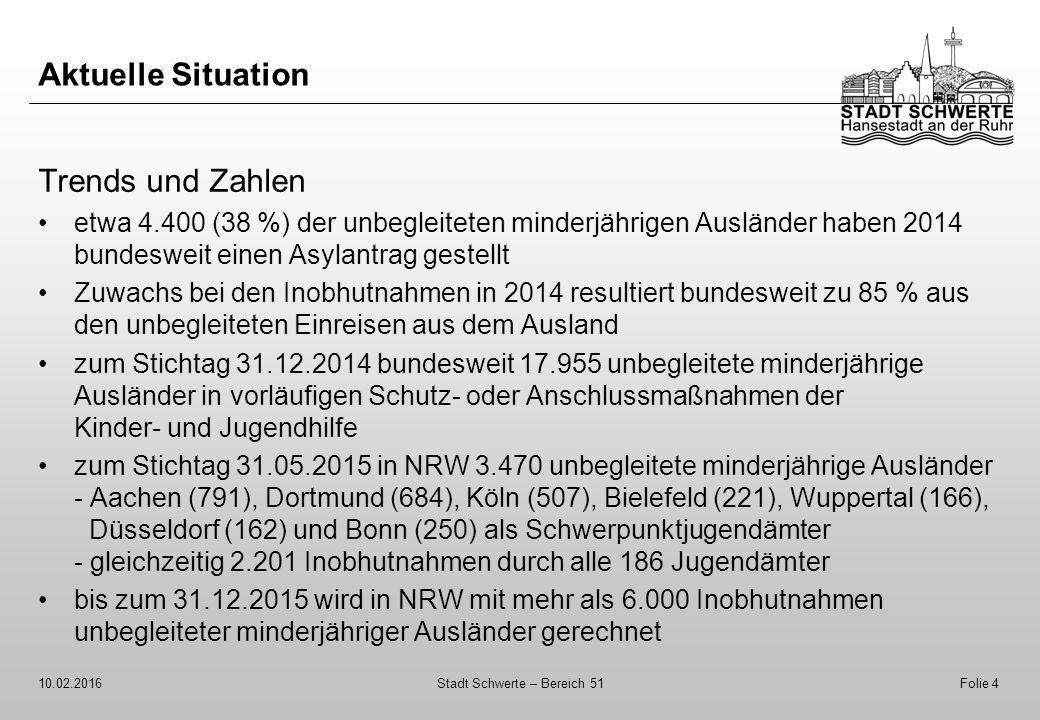 Aktuelle Situation Trends und Zahlen etwa 4.400 (38 %) der unbegleiteten minderjährigen Ausländer haben 2014 bundesweit einen Asylantrag gestellt Zuwa