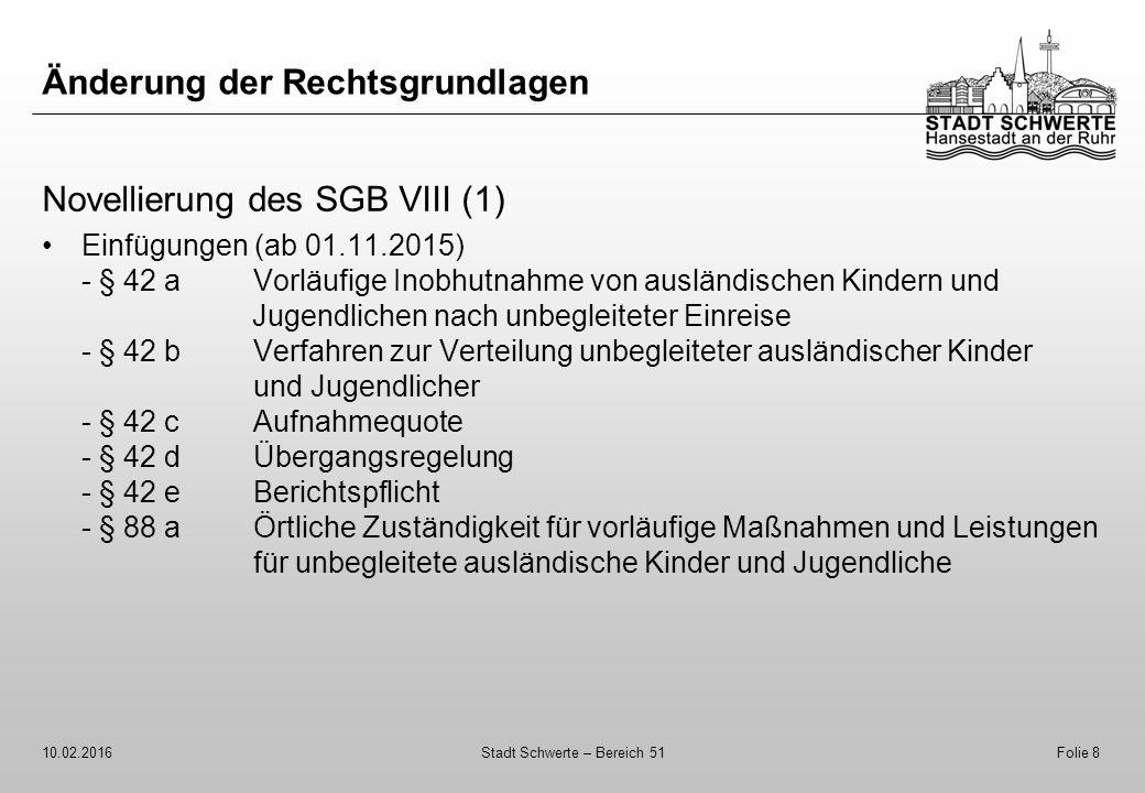 Änderung der Rechtsgrundlagen Novellierung des SGB VIII (1) Einfügungen (ab 01.11.2015) - § 42 aVorläufige Inobhutnahme von ausländischen Kindern und