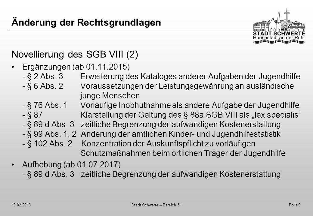 Änderung der Rechtsgrundlagen Novellierung des SGB VIII (2) Ergänzungen (ab 01.11.2015) - § 2 Abs. 3 Erweiterung des Kataloges anderer Aufgaben der Ju