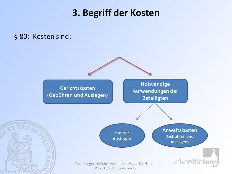3. Begriff der Kosten § 80: Kosten sind: Familiengerichtliches Verfahren, Universität Bonn, WS 2015/2016, Gabriele Ey 120 Gerichtskosten (Gebühren und