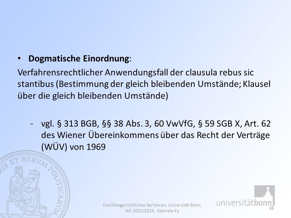 Dogmatische Einordnung: Verfahrensrechtlicher Anwendungsfall der clausula rebus sic stantibus (Bestimmung der gleich bleibenden Umstände; Klausel über