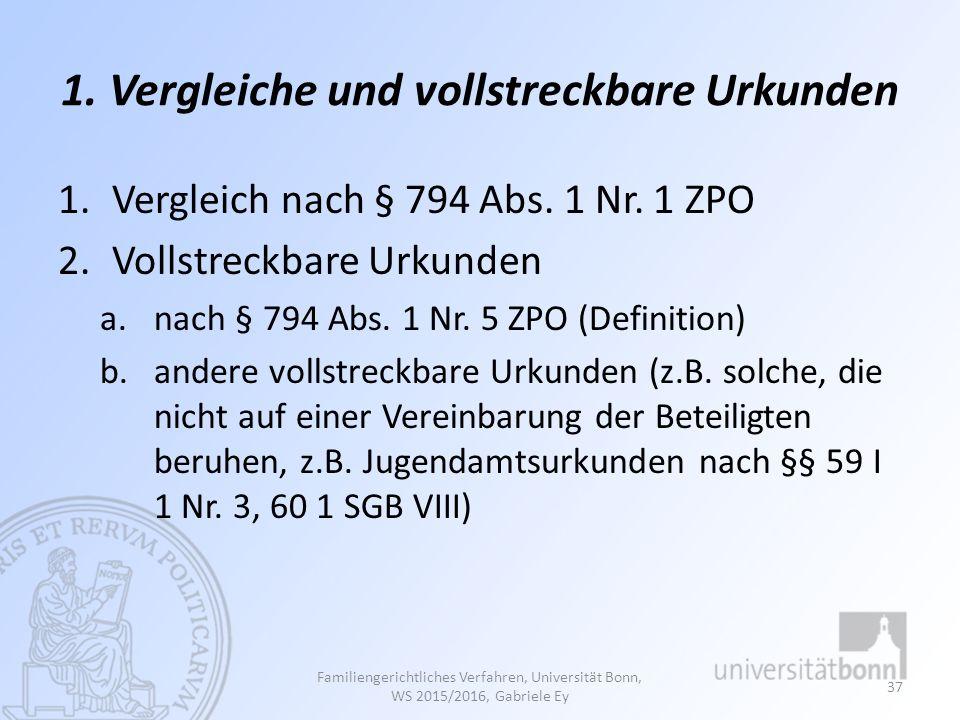 1. Vergleiche und vollstreckbare Urkunden 1.Vergleich nach § 794 Abs. 1 Nr. 1 ZPO 2.Vollstreckbare Urkunden a.nach § 794 Abs. 1 Nr. 5 ZPO (Definition)