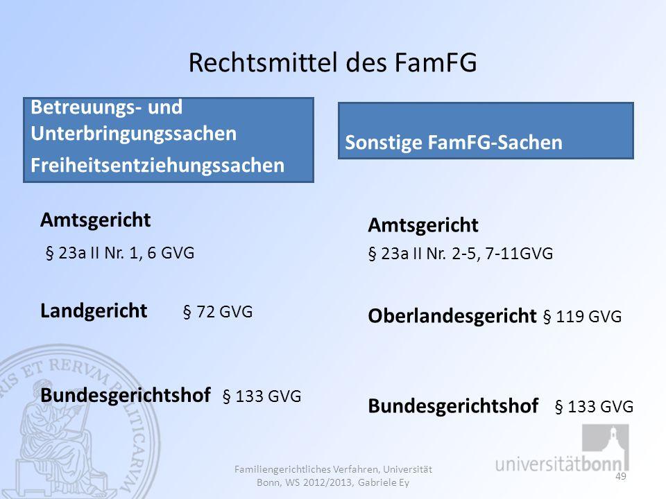 Rechtsmittel des FamFG Betreuungs- und Unterbringungssachen Freiheitsentziehungssachen Amtsgericht § 23a II Nr. 1, 6 GVG Landgericht § 72 GVG Bundesge