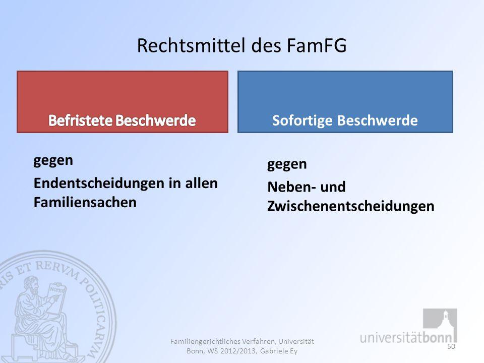 Rechtsmittel des FamFG gegen Endentscheidungen in allen Familiensachen Sofortige Beschwerde gegen Neben- und Zwischenentscheidungen Familiengerichtlic
