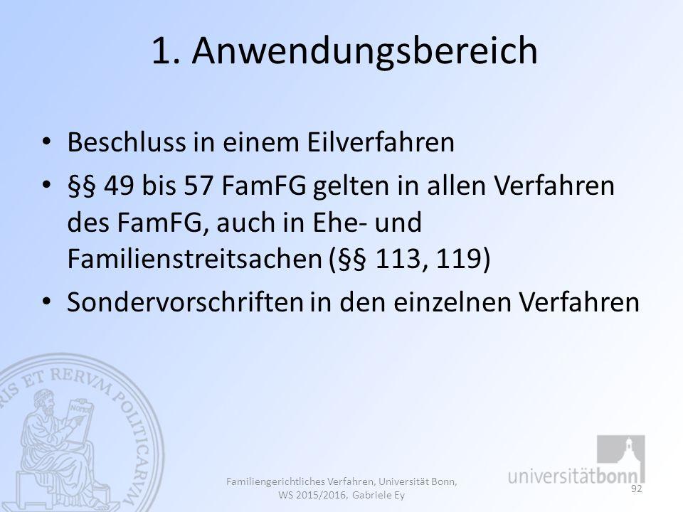 1. Anwendungsbereich Beschluss in einem Eilverfahren §§ 49 bis 57 FamFG gelten in allen Verfahren des FamFG, auch in Ehe- und Familienstreitsachen (§§