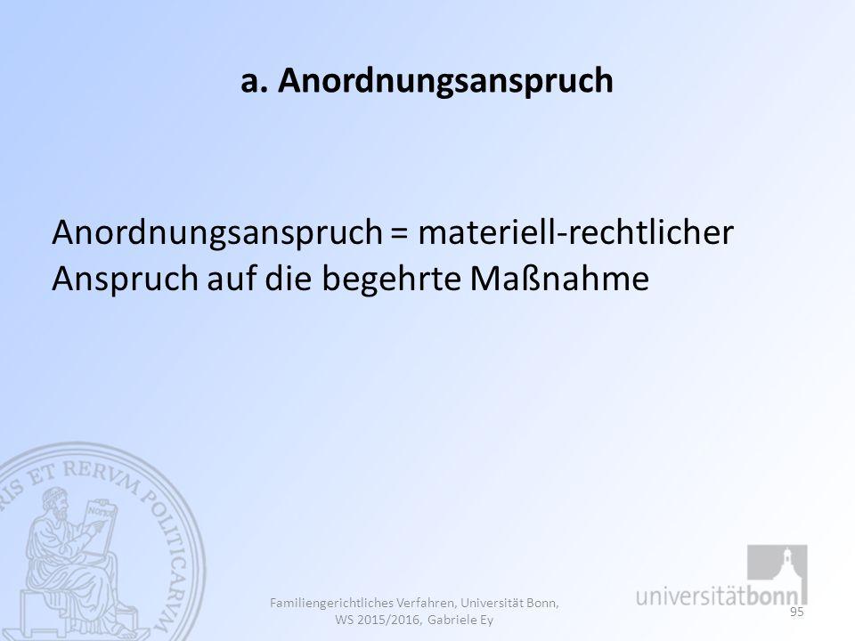 a. Anordnungsanspruch Anordnungsanspruch = materiell-rechtlicher Anspruch auf die begehrte Maßnahme Familiengerichtliches Verfahren, Universität Bonn,