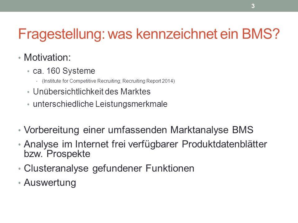 Fragestellung: was kennzeichnet ein BMS? Motivation: ca. 160 Systeme (Institute for Competitive Recruiting; Recruiting Report 2014) Unübersichtlichkei