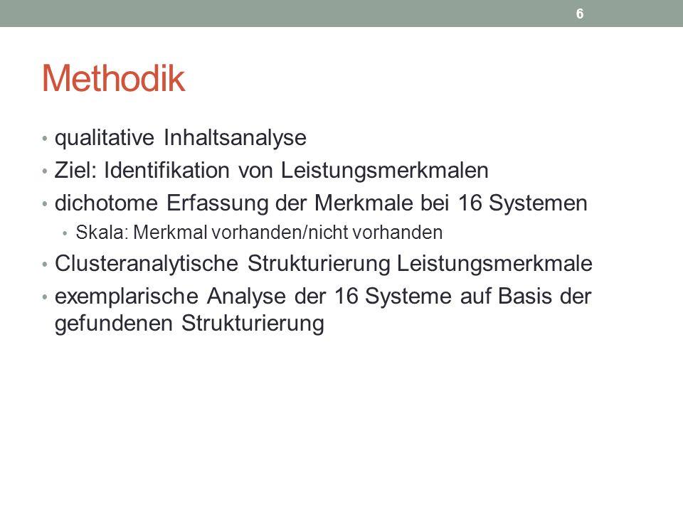 Methodik qualitative Inhaltsanalyse Ziel: Identifikation von Leistungsmerkmalen dichotome Erfassung der Merkmale bei 16 Systemen Skala: Merkmal vorhan