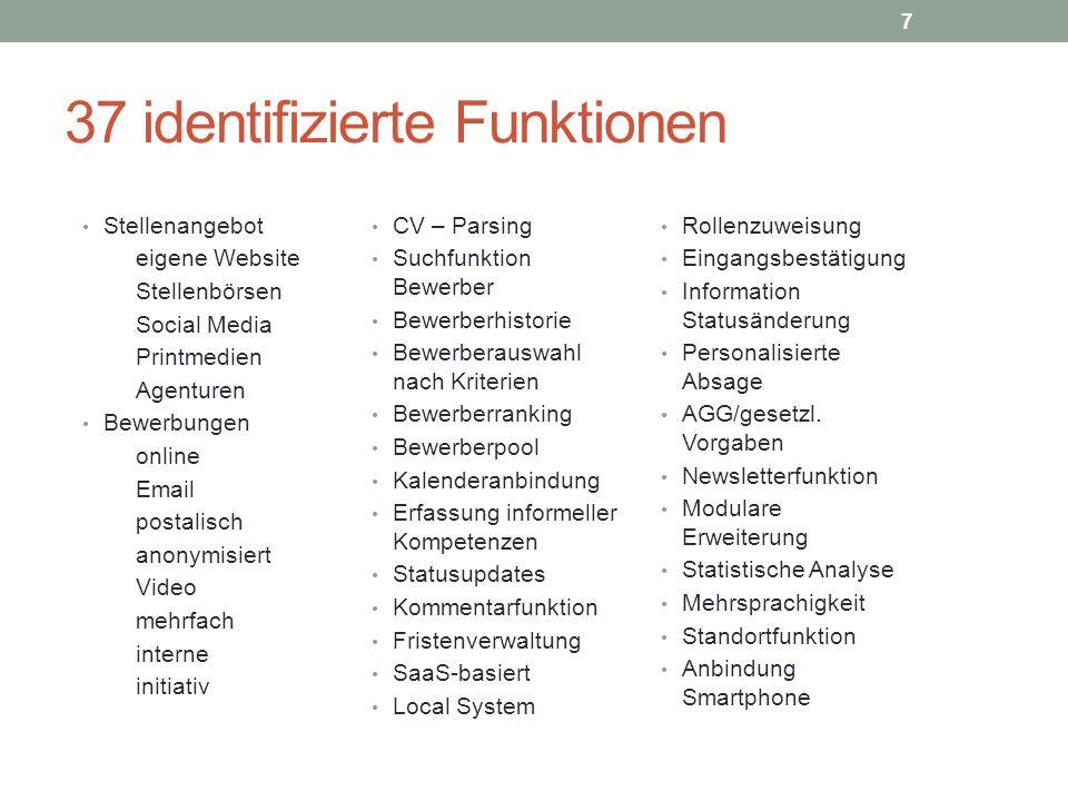37 identifizierte Funktionen Rollenzuweisung Eingangsbestätigung Information Statusänderung Personalisierte Absage AGG/gesetzl. Vorgaben Newsletterfun