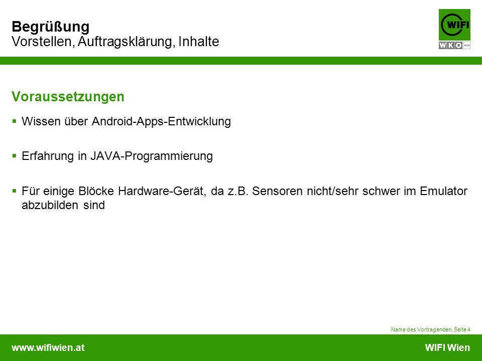 www.wifiwien.atWIFI Wien Begrüßung Vorstellen, Auftragsklärung, Inhalte Voraussetzungen  Wissen über Android-Apps-Entwicklung  Erfahrung in JAVA-Programmierung  Für einige Blöcke Hardware-Gerät, da z.B.