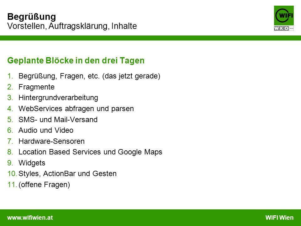 www.wifiwien.atWIFI Wien Begrüßung Vorstellen, Auftragsklärung, Inhalte Geplante Blöcke in den drei Tagen 1.Begrüßung, Fragen, etc.