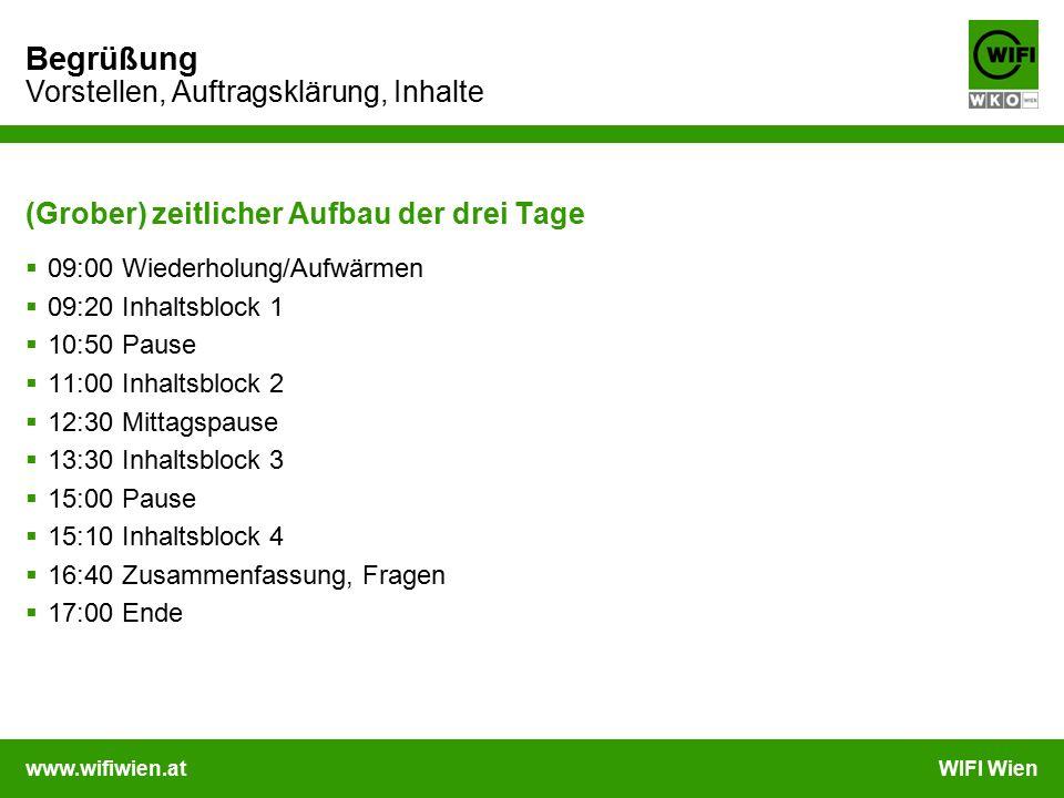 www.wifiwien.atWIFI Wien Begrüßung Vorstellen, Auftragsklärung, Inhalte (Grober) zeitlicher Aufbau der drei Tage  09:00 Wiederholung/Aufwärmen  09:2