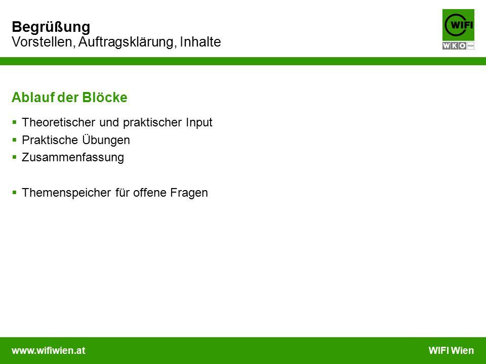 www.wifiwien.atWIFI Wien Begrüßung Vorstellen, Auftragsklärung, Inhalte Ablauf der Blöcke  Theoretischer und praktischer Input  Praktische Übungen 