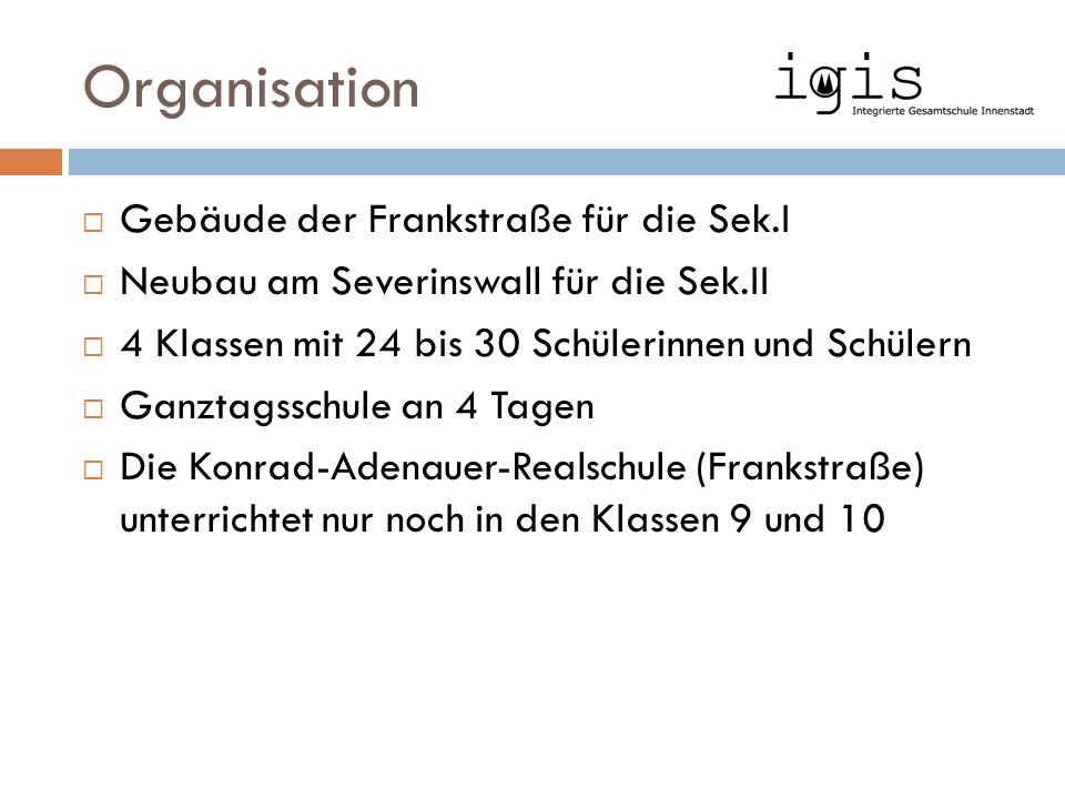 Organisation  Gebäude der Frankstraße für die Sek.I  Neubau am Severinswall für die Sek.II  4 Klassen mit 24 bis 30 Schülerinnen und Schülern  Gan