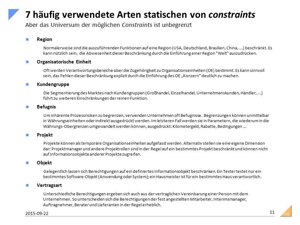 SiG 7 häufig verwendete Arten statischen von constraints Aber das Universum der möglichen Constraints ist unbegrenzt Region Normalerweise sind die auszuführenden Funktionen auf eine Region (USA, Deutschland, Brasilien, China,...) beschränkt.