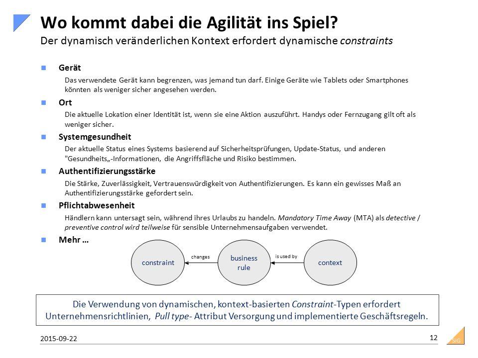SiG Wo kommt dabei die Agilität ins Spiel? Der dynamisch veränderlichen Kontext erfordert dynamische constraints Gerät Das verwendete Gerät kann begre