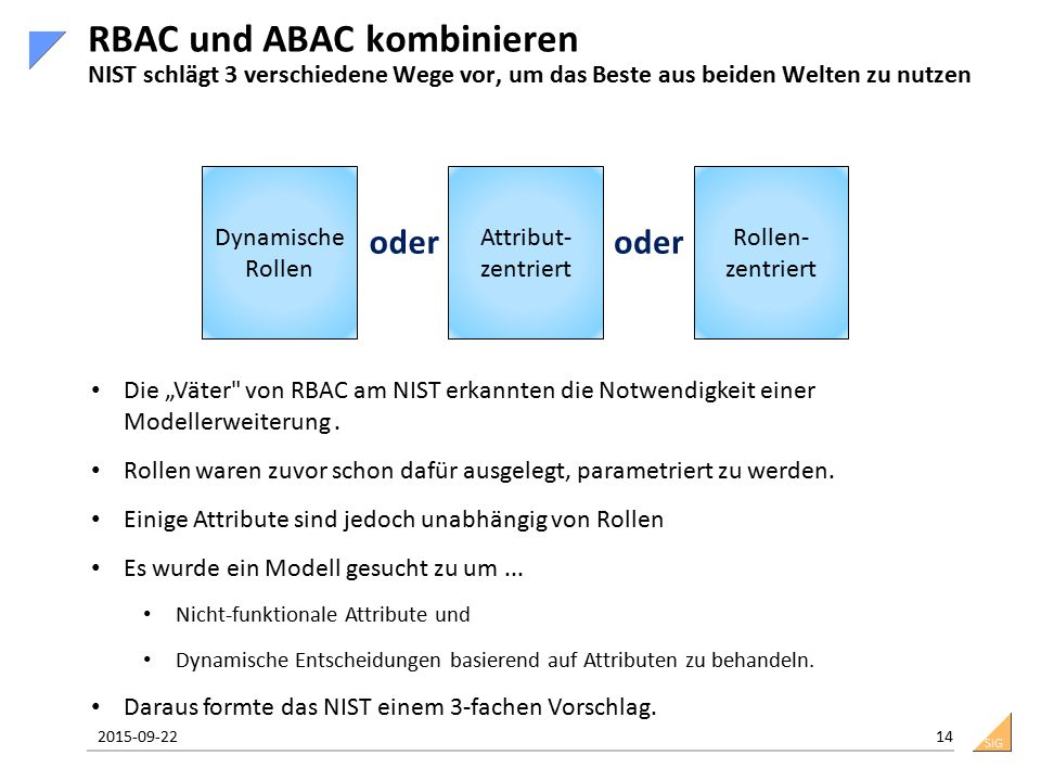 """SiG 2015-09-22 14 RBAC und ABAC kombinieren NIST schlägt 3 verschiedene Wege vor, um das Beste aus beiden Welten zu nutzen Dynamische Rollen Attribut- zentriert Rollen- zentriert oder Die """"Väter von RBAC am NIST erkannten die Notwendigkeit einer Modellerweiterung."""