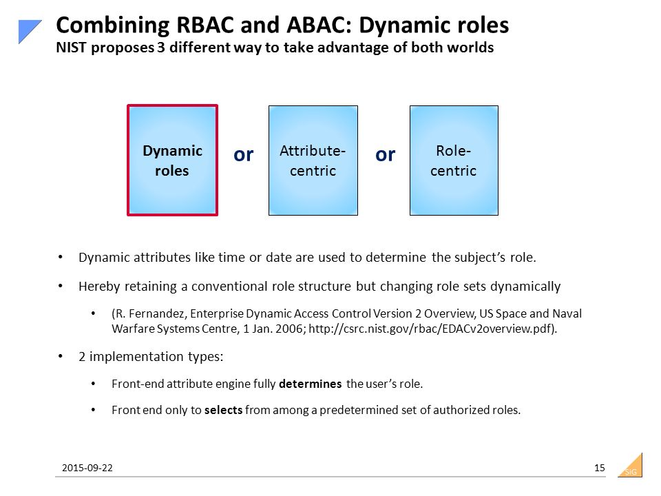 SiG 2015-09-22 15 Combining RBAC and ABAC: Dynamic roles NIST proposes 3 different way to take advantage of both worlds Dynamic roles Attribute- centric Role- centric or Dynamic attributes like time or date are used to determine the subject's role.