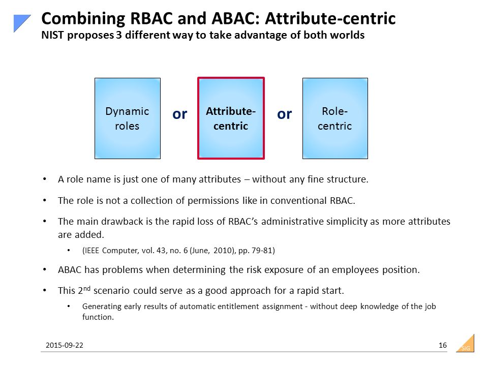 SiG 2015-09-22 16 Combining RBAC and ABAC: Attribute-centric NIST proposes 3 different way to take advantage of both worlds Dynamic roles Attribute- centric Role- centric or A role name is just one of many attributes – without any fine structure.