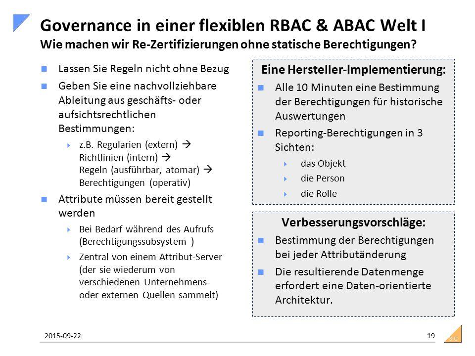 SiG Governance in einer flexiblen RBAC & ABAC Welt I Wie machen wir Re-Zertifizierungen ohne statische Berechtigungen? Lassen Sie Regeln nicht ohne Be