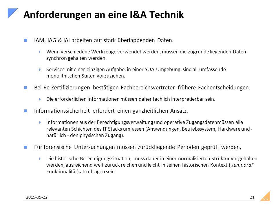 SiG Anforderungen an eine I&A Technik IAM, IAG & IAI arbeiten auf stark überlappenden Daten.  Wenn verschiedene Werkzeuge verwendet werden, müssen di