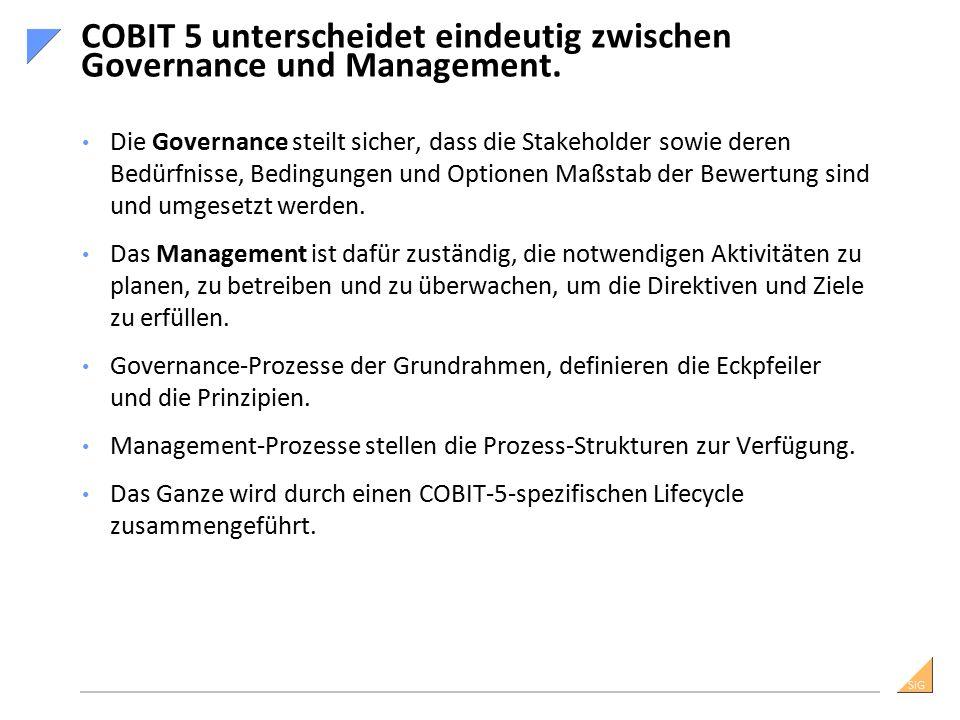 SiG Die Governance steilt sicher, dass die Stakeholder sowie deren Bedürfnisse, Bedingungen und Optionen Maßstab der Bewertung sind und umgesetzt werden.