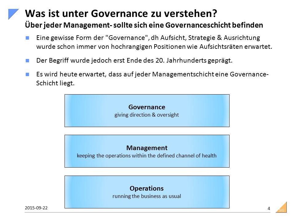 SiG Was ist unter Governance zu verstehen? Über jeder Management- sollte sich eine Governanceschicht befinden Eine gewisse Form der