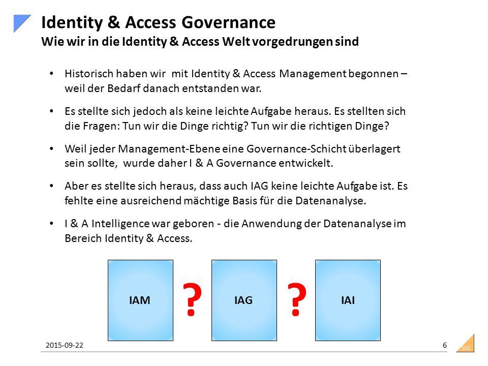 SiG Identity & Access Governance Wie wir in die Identity & Access Welt vorgedrungen sind 2015-09-22 6 IAMIAGIAI ?? Historisch haben wir mit Identity &
