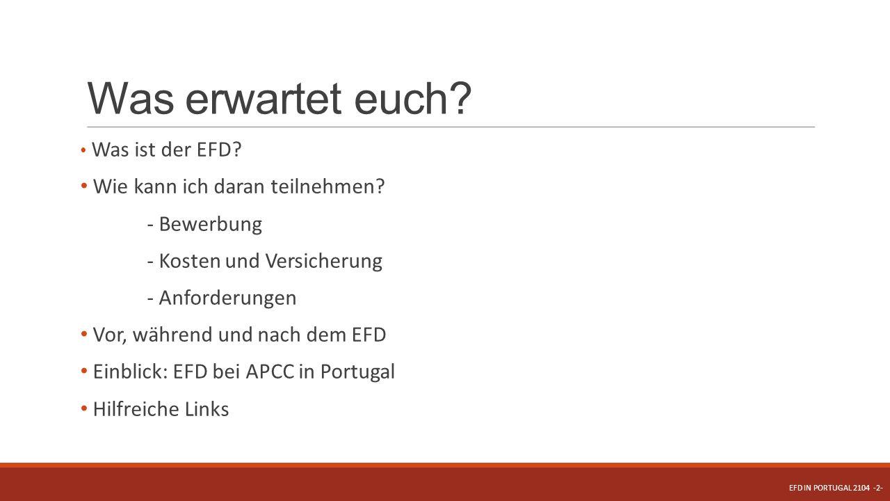 Was erwartet euch? Was ist der EFD? Wie kann ich daran teilnehmen? - Bewerbung - Kosten und Versicherung - Anforderungen Vor, während und nach dem EFD