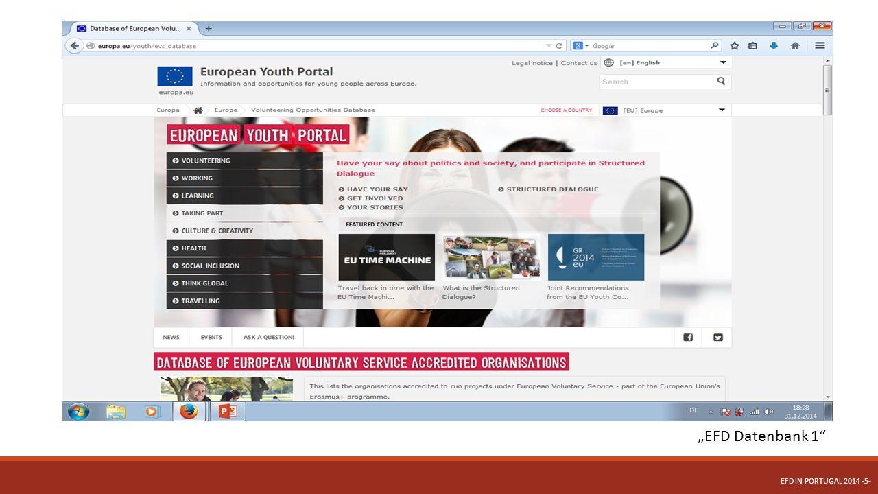 """EFD Datenbank 2 EFD IN PORTUGAL 2014 -6-"